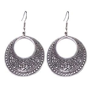 Jewelry - Antiqued Silver Tone Boho Open Circle Earrings